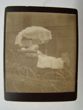 Vintage Very Fancy Baby Buggy With Umbrella Cabinet Card Photograph 1900's