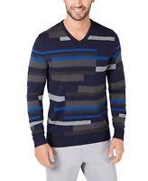 Alfani Mens Sweater Deep Blue Size Small S V-Neck Pullover Striped $75 111
