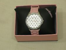 "Juicy Couture Women's "" Gwen "" Crystal Accent Pink Silicone Strap Watch 1901297"