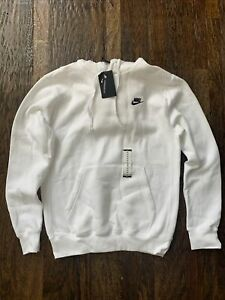 Nike Men's Sportswear Club Fleece Pullover Hoodie White BV2654-100 Size M-Tall