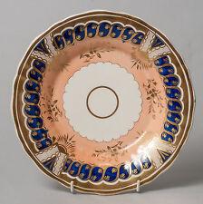Antique Georgian Period English Porcelain Saucer Plate with Salmon Pink Glaze