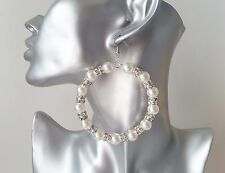 Beautiful large pearl bead & diamante silver tone hoop drop earrings *NEW*  D#FP