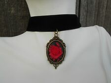 VELVET CHOKER NECKLACE WITH RED ROSE CAMEO PENDANT- WEDDING, VICTORIAN,