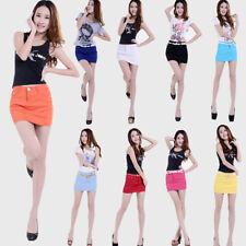Women Solid Denim Jeans Skirt Short Mini Party Club Dress High Waist Wrap Skirts