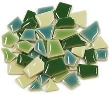 Flip Ceramic Mini Mosaic Tiles - Green Mix 100g