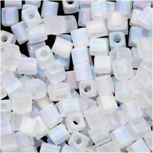 Miyuki 4mm Cube Beads Transp Frost Clear AB #131Fr 10Gr