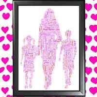 MUM, SON & DAUGHTER WORD ART CLOUD PERSONALISED MOTHER'S DAY GIFT FOR STEP-MUM