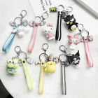 Cute 3D Keychain Hello Kitty Kuromi Cinnamoroll Melody Key Ring Bag Silver Chain