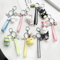 Cute 3D Keychain Hello Kitty Kuromi Cinnamoroll Melody Key Ring Bag Silver Chain