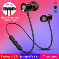 Magnetic Wireless bluetooth 5.0 Earphones Sports Headset Stereo Bass Headphones