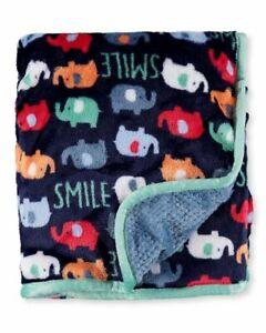 NWT Baby Starters SMILE Navy Blue Mint Green Trim Elephant Velour Baby Blanket