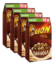 4 x Nestle Lion Granola - Caramel & Chocolate - Breakfast Cereal 300g 10.6oz