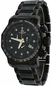 Oniss ON613-MIPB Men's Black IP Stainless Steel Black Ceramic Chronograph Watch