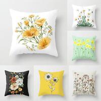 Flower Print Pillow Case Sofa Car Throw Waist Peach Skin Cushion Cover Home Deco