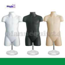 3 Mannequin Child Torsos Set -White Flesh Black +3 Stands +3 Hangers Kids Forms