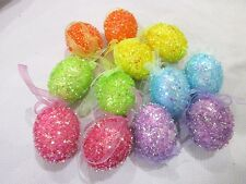 "Easter Pastel SPARKLE Eggs Egg 2.5"" Ornaments Tree Decorations Set of 12"