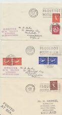 1959-65 lot of 3 x Brixham Paquebot Posted at sea covers inc Orsova
