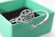 14K White Gold Filled Fashion Jewelry CZ Flower Womens Bracelet Chain