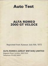 Alfa Romeo 2000 GT Veloce Road Test 1972 UK Market Foldout Brochure Autocar
