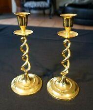 Beautiful Antique Victorian Barley Twist Brass Candlesticks