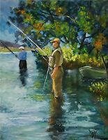 YARY DLUHOS ORIGINAL OIL PAINTING Fisherman Anglers River Fly Fishing Trout Bass
