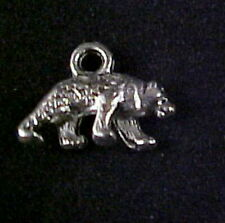 Antique Silver-tone Prowling Bear Charms, Findings 15 mm x 10 mm Pkg of 4