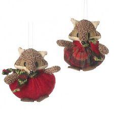 Heaven Sends 2 Plush Fox Christmas Tree Decorations - Cute Hanging Tree Decs