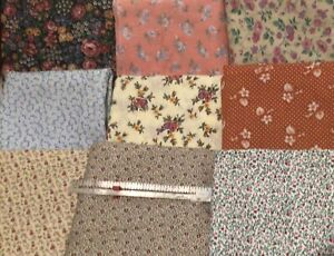 Vintage and Reproduction Quilting  Fabric Tiny Prints Doll Clothes Lot 9 Yards
