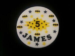 Batman logos cake decorations name, superhero age sign stars, superhero style