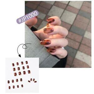 Square Full False Nails Artificial Press On Nail Tips Amber Blooming Fake Nails