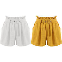 New Frill High Waisted Belted Paper Bag Shorts Party Hot Pants Casual Skorts
