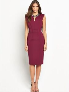BNWT VERY Scuba Cut Out Berry Pencil Evening Occasion Dress Size 10 NEW
