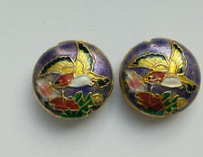 2 Cloisonne Beads, Floral/Bird, Purple/Pink/Multicolour, 18mm, Jewellery Making