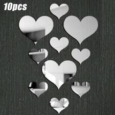 3D Love Heart Shape Mirror Effect Wall Stickers Acrylic Decal Diy Home Art Decor