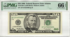 1996 $50 FEDERAL RESERVE NOTE ATLANTA FR.2126-F PMG GEM UNC 66 EPQ (346B)