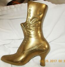 Vintage Solid Brass Victorian Lace Up steampunk Boot Figurine