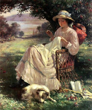 Oil painting William Kay Blacklock nice young lady sewing in the park with dog