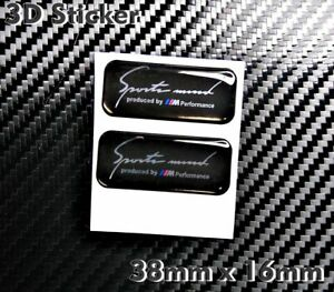 2x Sport Mind Produced by BMW Performance 3d Badge Sticker Black