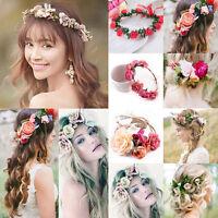 Women Wedding Big Flower Wreath Crown Headband Floral Garlands Hair Band New