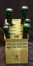 J A Henkels 23 slot maple wood knife block with 6 Eversharp Pro knives set lot