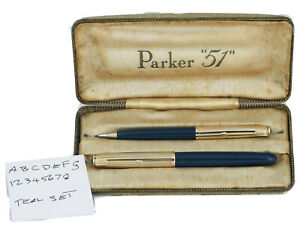 PARKER 51 Teal Aeromatic Fountain Pen And Clutch Pencil Set In Original Box