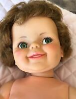"""Ideal Toy Corp.1968 Vinyl Giggles Flirty Eyes 16"""" Doll Vintage Lovable Dressed"""
