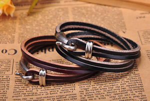 2PC Black & Brown Cool Hook Clasp Chic Multi-Wrap Leather Bracelet Cuff Men NEW