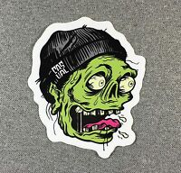 Casual Industries Zombie Skateboard Sticker 4.25in green/red si