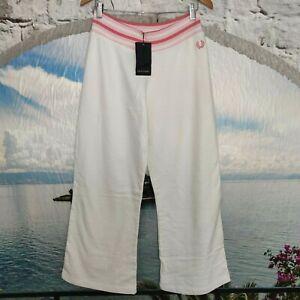 Damen Sporthose Fred Perry Original  Gr 42 L  Weiß Rosa Logo  Trainingshose