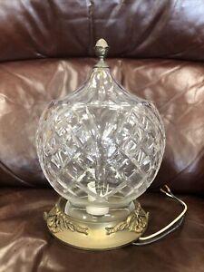 Vint Waterford Crystal Cast Brass Flush Mount Ceiling Light Fixture Script Logo
