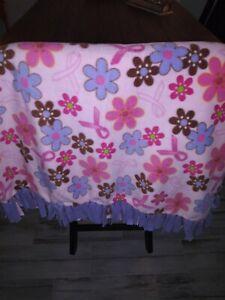 "NEW Pink/Purple Breast Cancer Reversible  Anti-Pill Fleece Blanket 50"" x 66"""