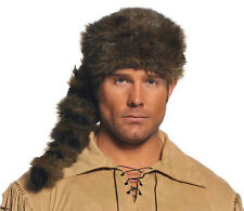 FRONTIER HAT DAVEY DAVY CROCKETT PIONEER DANIEL BOONE COSTUME CAP COONSKIN BROWN