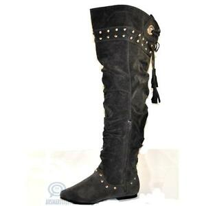 Dark Grey Knee High Boots Faux Suede Fashion Winter Sexy High Shoes AU Size