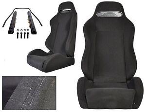 NEW 1 PAIR BLACK CLOTH + BLACK STITCH RACING SEATS ALL FORD *****